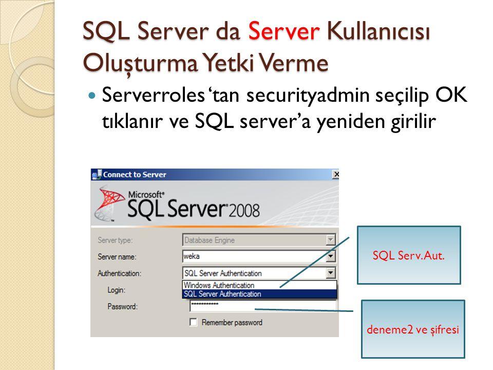 SQL Server da Server Kullanıcısı Oluşturma Yetki Verme Serverroles 'tan securityadmin seçilip OK tıklanır ve SQL server'a yeniden girilir SQL Serv. Au