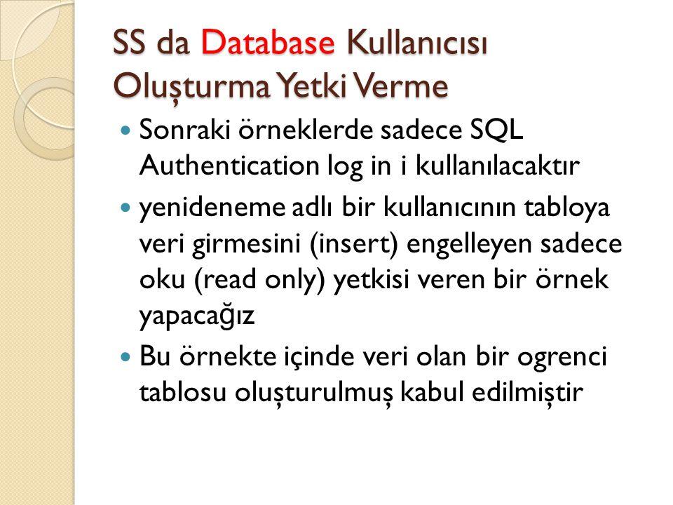 SS da Database Kullanıcısı Oluşturma Yetki Verme Sonraki örneklerde sadece SQL Authentication log in i kullanılacaktır yenideneme adlı bir kullanıcını