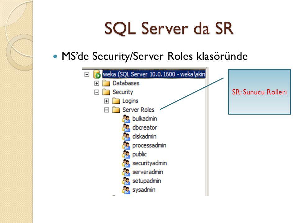 SQL Server da SR sysadmin : SQL Server da en yetkili roldür.her türlü işlemi gerçekleştirebilir.