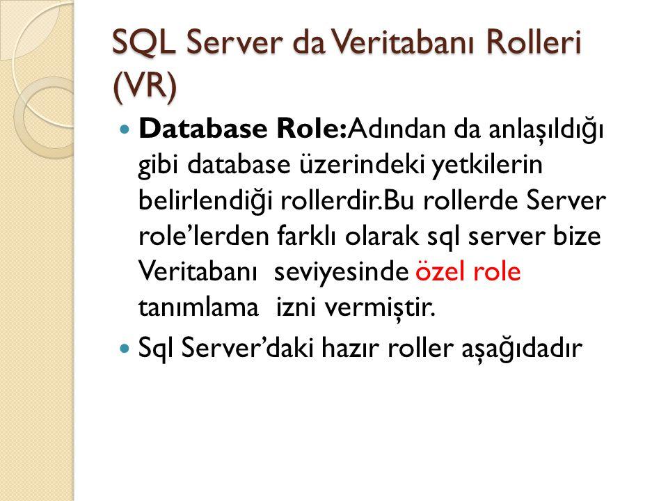 SQL Server da Veritabanı Rolleri (VR) Database Role:Adından da anlaşıldı ğ ı gibi database üzerindeki yetkilerin belirlendi ğ i rollerdir.Bu rollerde
