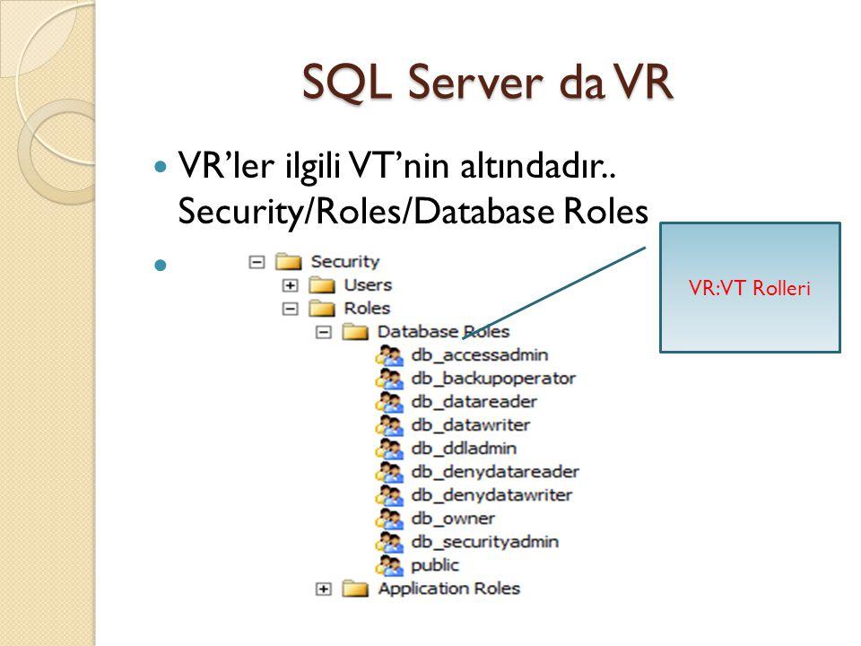 SQL Server da Server Kullanıcısı Oluşturma Yetki Verme Deneme kullanıcısı nın VT oluşturma yetkisi olmadı ğ ı (CREATE DATABASE permission denied..) hata mesajı veriyor