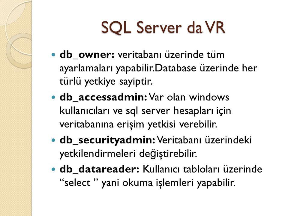 SQL Server da VR db_owner: veritabanı üzerinde tüm ayarlamaları yapabilir.Database üzerinde her türlü yetkiye sayiptir. db_accessadmin: Var olan windo