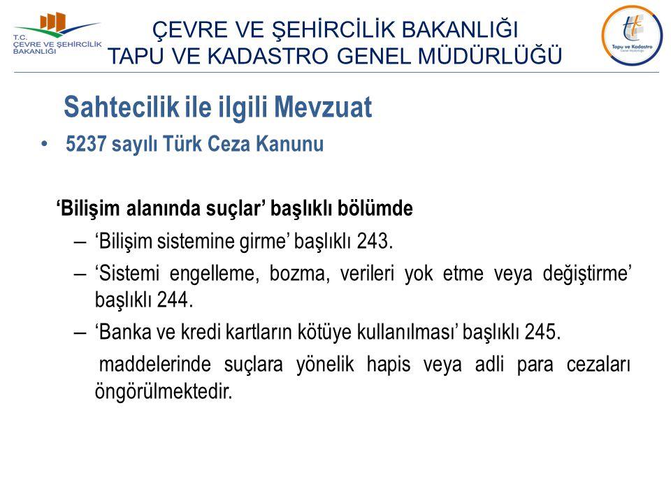 Sahtecilik ile ilgili Mevzuat 5237 sayılı Türk Ceza Kanunu 'Bilişim alanında suçlar' başlıklı bölümde – 'Bilişim sistemine girme' başlıklı 243. – 'Sis