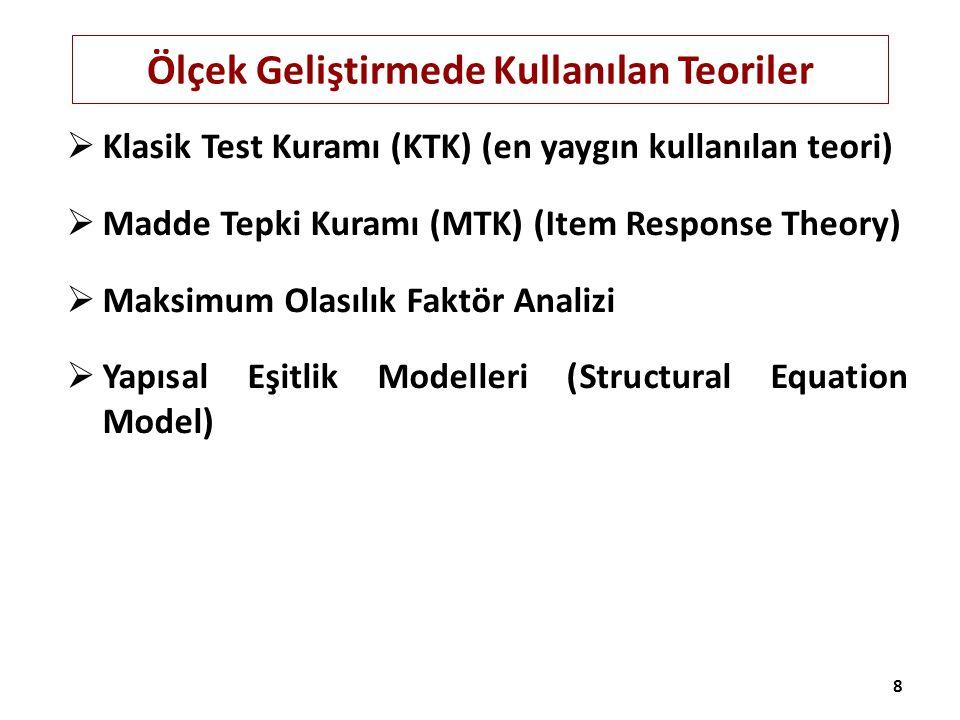 Ölçek Geliştirmede Kullanılan Teoriler  Klasik Test Kuramı (KTK) (en yaygın kullanılan teori)  Madde Tepki Kuramı (MTK) (Item Response Theory)  Mak