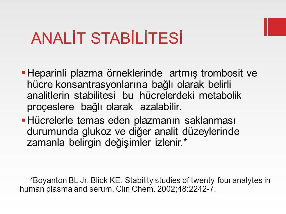 ANALİT STABİLİTESİ  Heparinli plazma örneklerinde artmış trombosit ve hücre konsantrasyonlarına bağlı olarak belirli analitlerin stabilitesi bu hücre