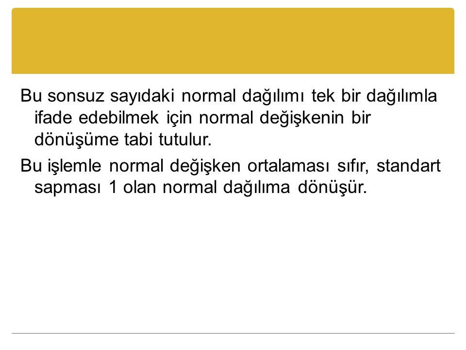 Bu değişkene standart normal değişken adı verilir ve Z değişkeni olarak gösterilir.