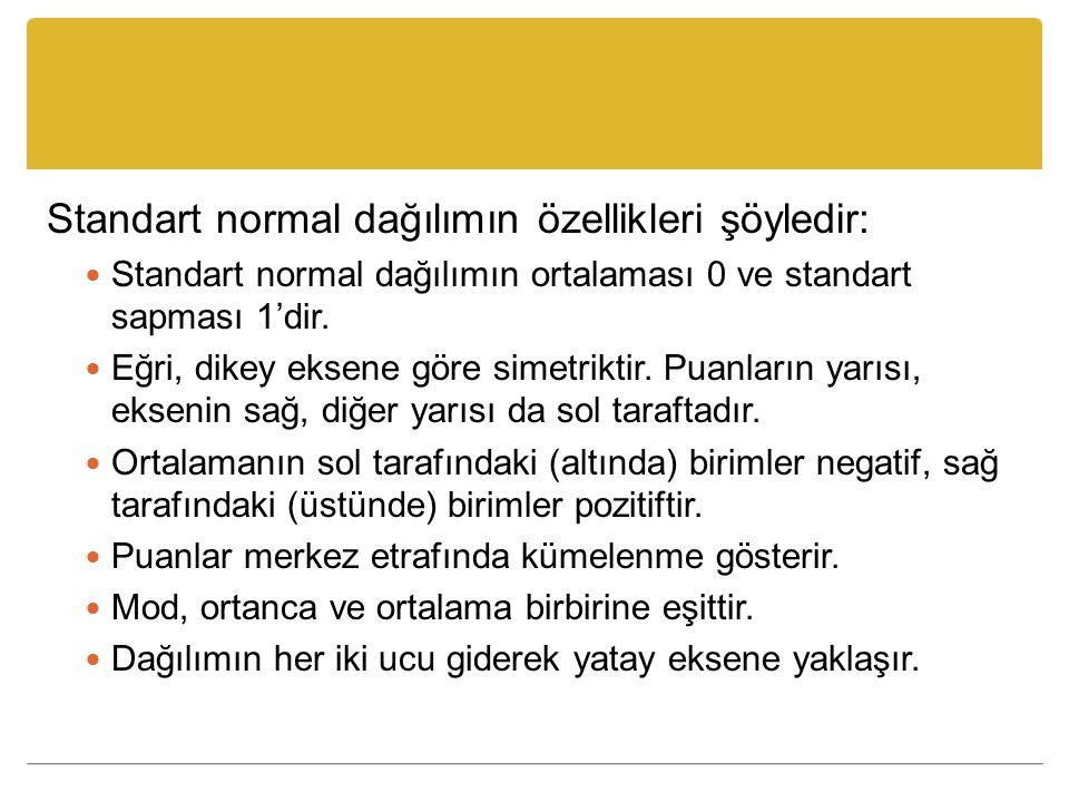 Standart normal dağılımın özellikleri şöyledir: Standart normal dağılımın ortalaması 0 ve standart sapması 1'dir. Eğri, dikey eksene göre simetriktir.