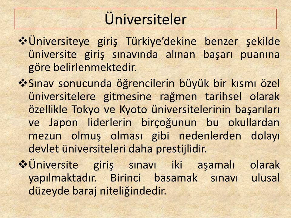 Üniversiteler  Üniversiteye giriş Türkiye'dekine benzer şekilde üniversite giriş sınavında alınan başarı puanına göre belirlenmektedir.  Sınav sonuc