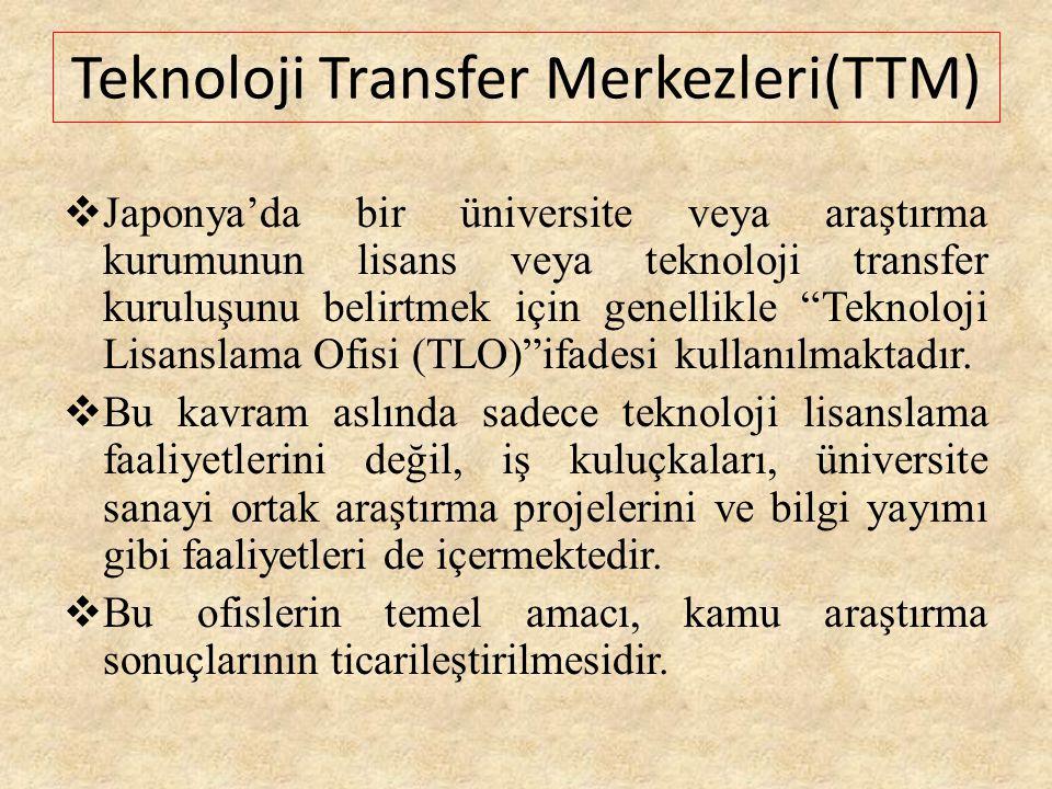 """ Japonya'da bir üniversite veya araştırma kurumunun lisans veya teknoloji transfer kuruluşunu belirtmek için genellikle """"Teknoloji Lisanslama Ofisi ("""