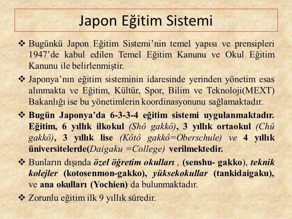 Japon Eğitim Sistemi  Bugünkü Japon Eğitim Sistemi'nin temel yapısı ve prensipleri 1947'de kabul edilen Temel Eğitim Kanunu ve Okul Eğitim Kanunu ile