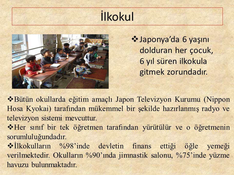 İlkokul  Japonya'da 6 yaşını dolduran her çocuk, 6 yıl süren ilkokula gitmek zorundadır.  Bütün okullarda eğitim amaçlı Japon Televizyon Kurumu (Nip