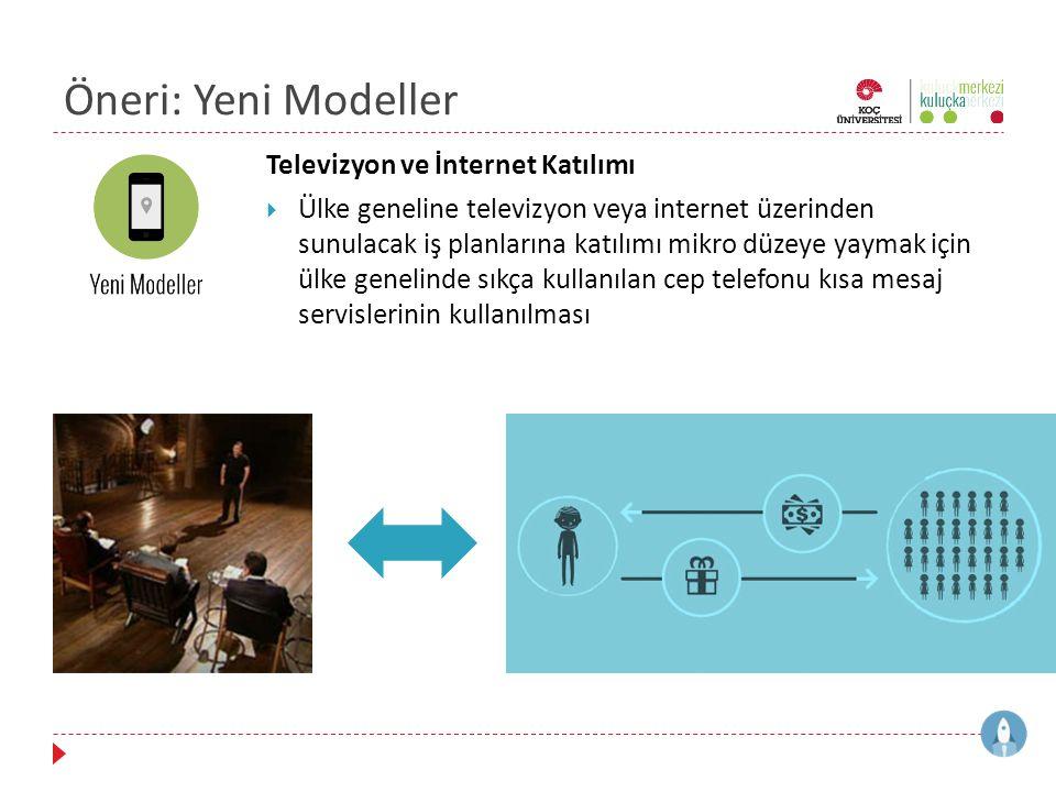 Öneri: Yeni Modeller Televizyon ve İnternet Katılımı  Ülke geneline televizyon veya internet üzerinden sunulacak iş planlarına katılımı mikro düzeye