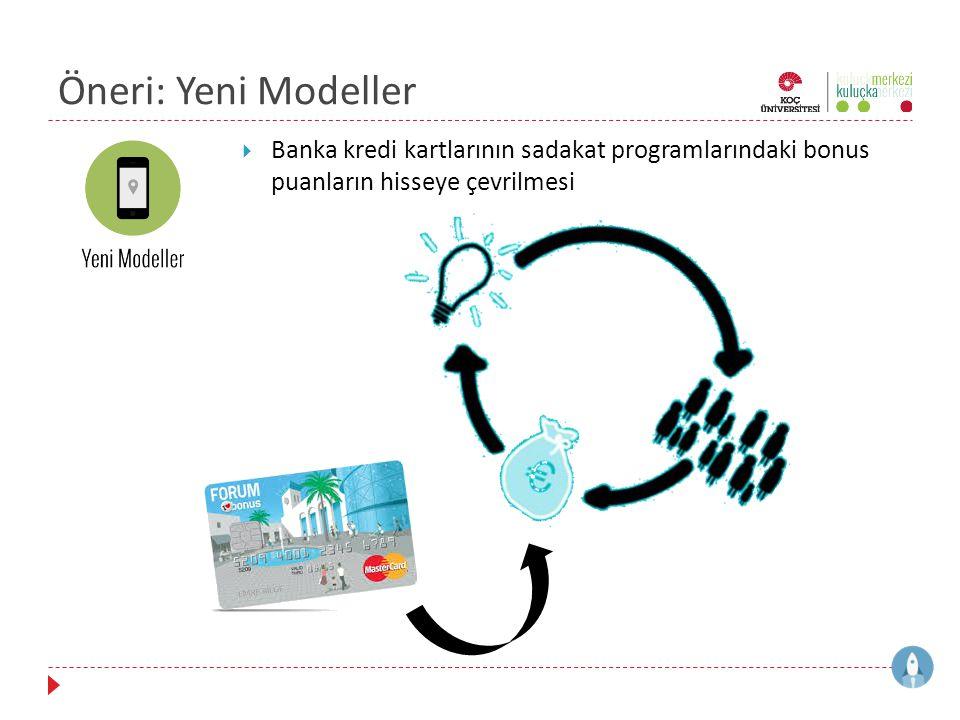 Öneri: Yeni Modeller  Banka kredi kartlarının sadakat programlarındaki bonus puanların hisseye çevrilmesi