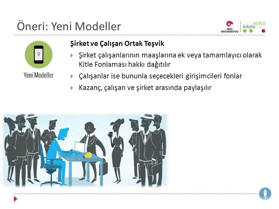 Öneri: Yeni Modeller Şirket ve Çalışan Ortak Teşvik  Şirket çalışanlarının maaşlarına ek veya tamamlayıcı olarak Kitle Fonlaması hakkı dağıtılır  Ça