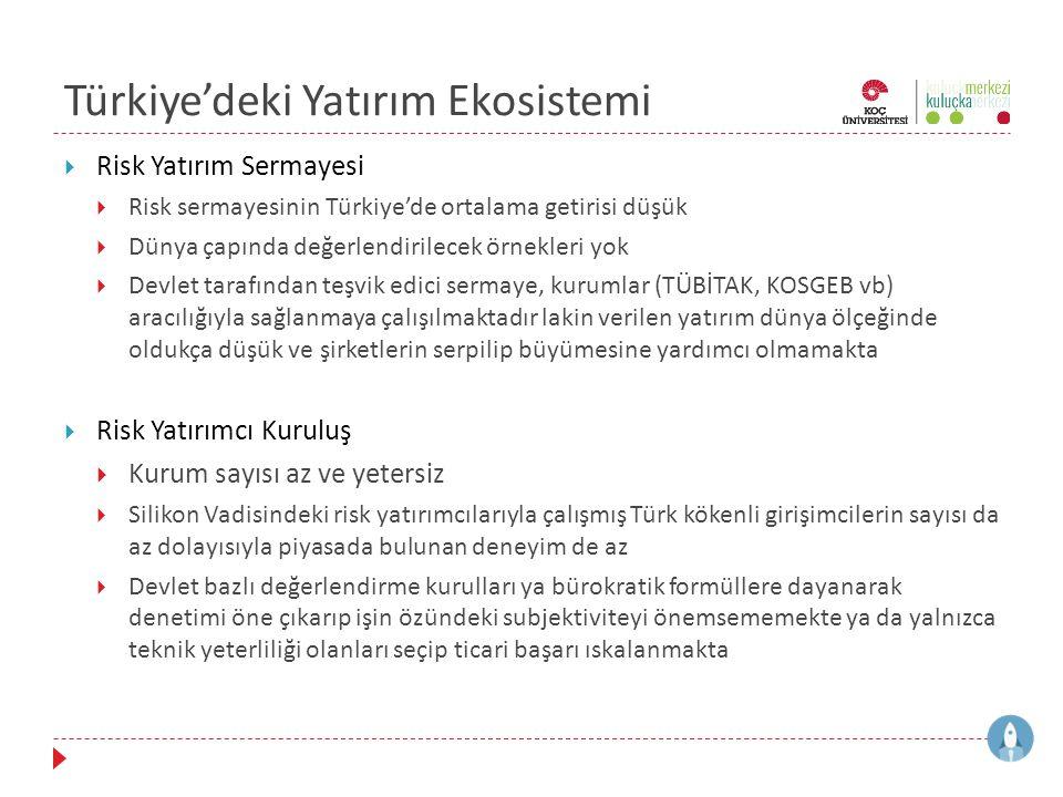 Türkiye'deki Yatırım Ekosistemi  Risk Yatırım Sermayesi  Risk sermayesinin Türkiye'de ortalama getirisi düşük  Dünya çapında değerlendirilecek örne