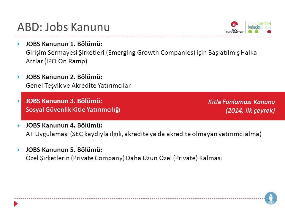 ABD: Jobs Kanunu  JOBS Kanunun 1. Bölümü: Girişim Sermayesi Şirketleri (Emerging Growth Companies) için Başlatılmış Halka Arzlar (IPO On Ramp)  JOBS