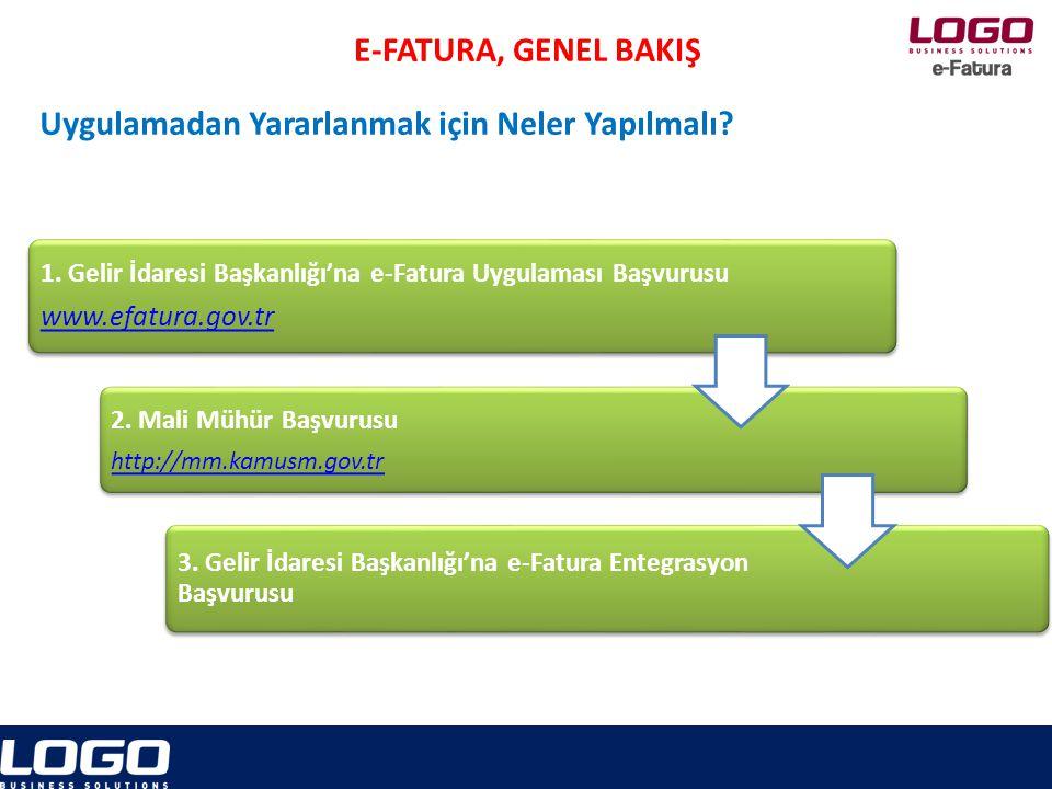 e-Fatura 1.Gelir İdaresi Başkanlığı'na e-Fatura Uygulaması Başvurusu www.efatura.gov.tr 2.