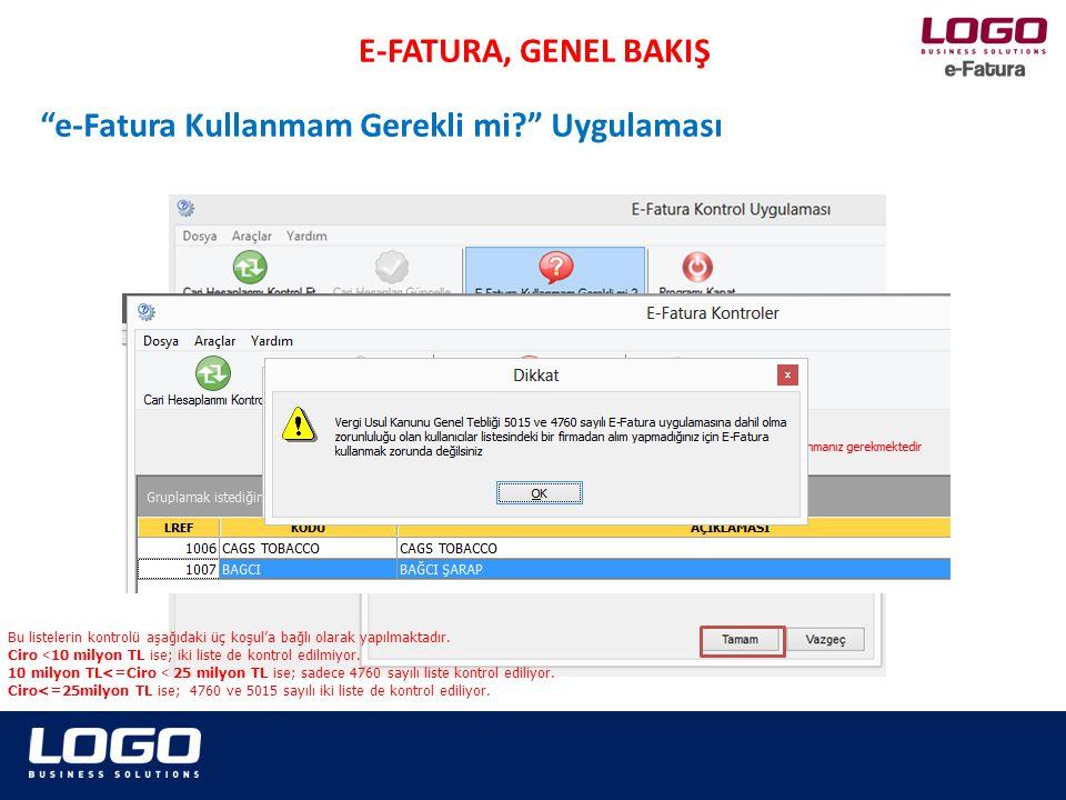 E-FATURA, GENEL BAKIŞ Cari Hesaplarımı Kontrol Et/Güncelle