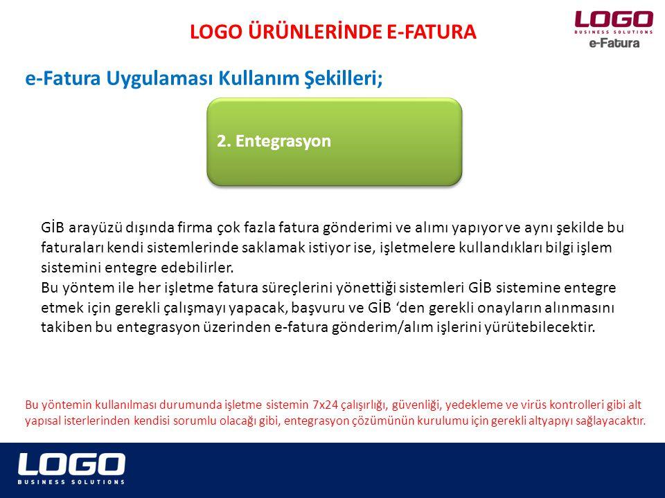 2. Entegrasyon LOGO ÜRÜNLERİNDE E-FATURA e-Fatura Uygulaması Kullanım Şekilleri; GİB arayüzü dışında firma çok fazla fatura gönderimi ve alımı yapıyor