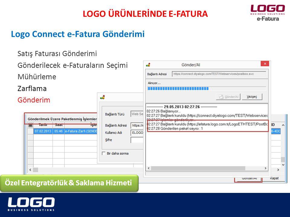 ERP'de hazırlanan e-Faturalar LogoConnect'te mühürlenir, zarflanır ve Logo sunucularına gönderilir, Gönderilen e-Fatura Logo Sunucularına gelir, sunucu gelen e-Faturaları anında GİB'e iletir, GİB üzerinden e-Fatura alıcısına ulaştırılır.