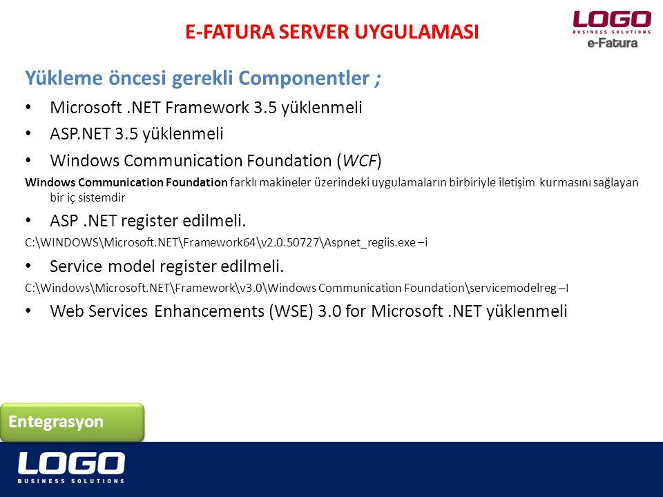 E-Fatura uygulamasını içeren RAR dosyası şu adresten indirilir ftp://download.logo.com.tr/Windows/TOOLS/e-devlet-uygulamalari/E_FaturaServer/eFaturaServerSetup.rar Entegrasyon E-FATURA SERVER UYGULAMASI e-Fatura Sunucusu Kurulumu;