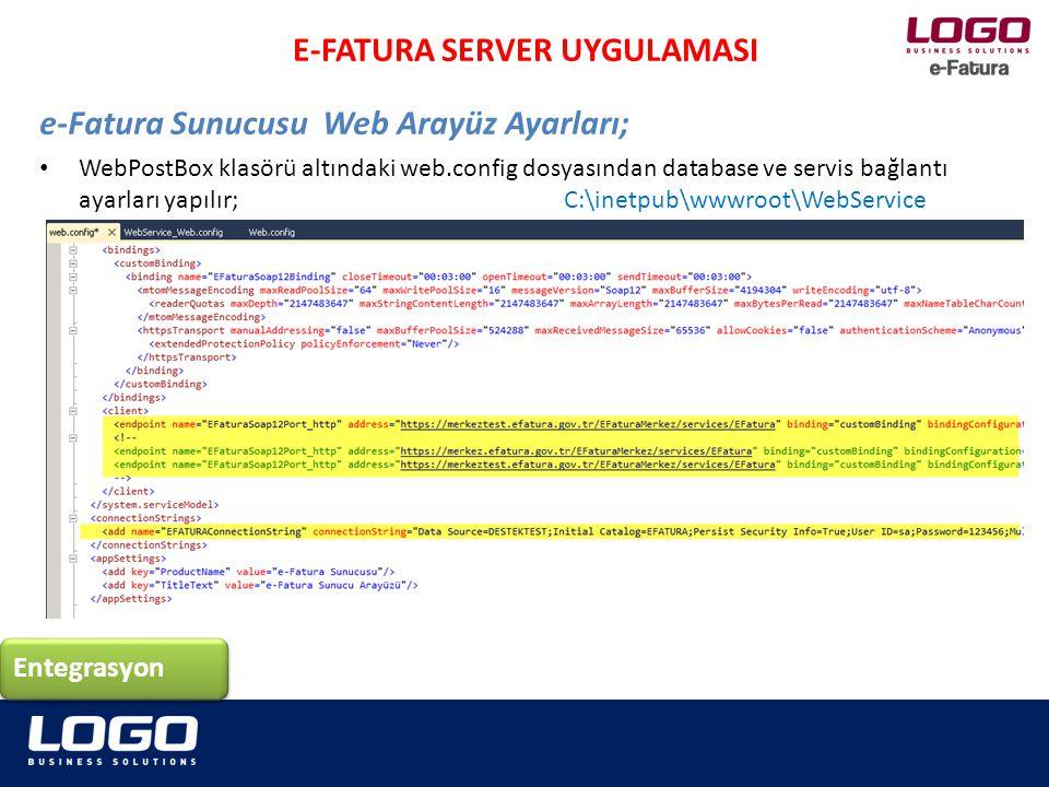 WebPostBox klasörü altındaki web.config dosyasından database ve servis bağlantı ayarları yapılır; C:\inetpub\wwwroot\WebService Entegrasyon E-FATURA S