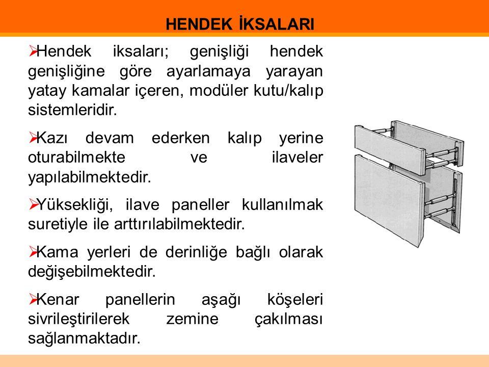  Hendek iksaları; genişliği hendek genişliğine göre ayarlamaya yarayan yatay kamalar içeren, modüler kutu/kalıp sistemleridir.  Kazı devam ederken k