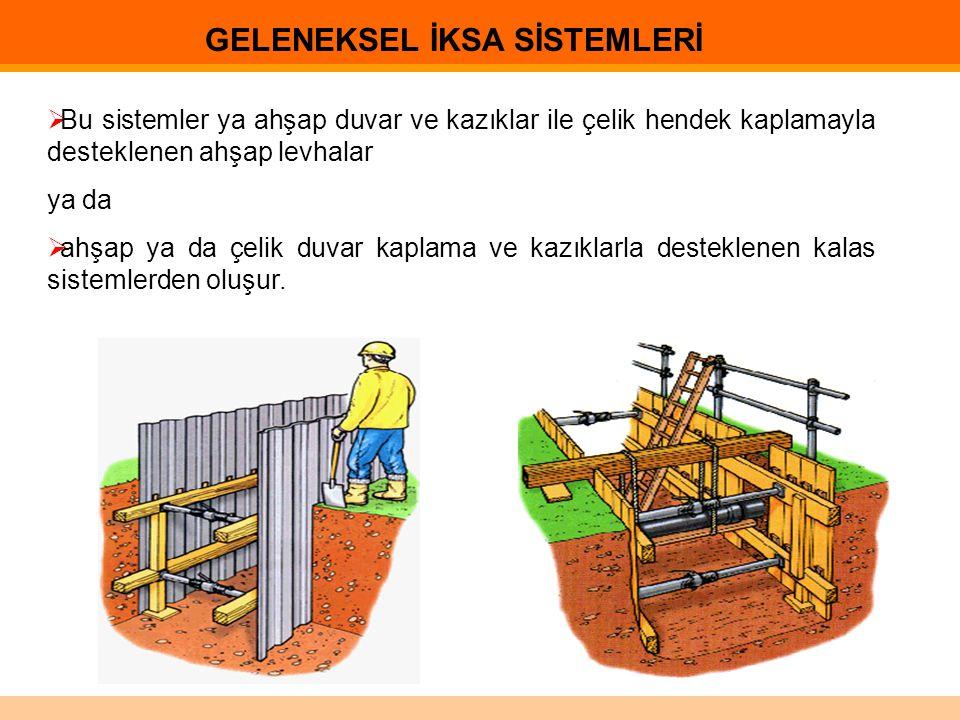  Bu sistemler ya ahşap duvar ve kazıklar ile çelik hendek kaplamayla desteklenen ahşap levhalar ya da  ahşap ya da çelik duvar kaplama ve kazıklarla