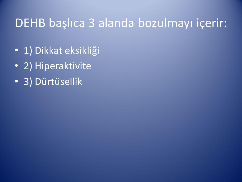 DEHB başlıca 3 alanda bozulmayı içerir: 1) Dikkat eksikliği 2) Hiperaktivite 3) Dürtüsellik