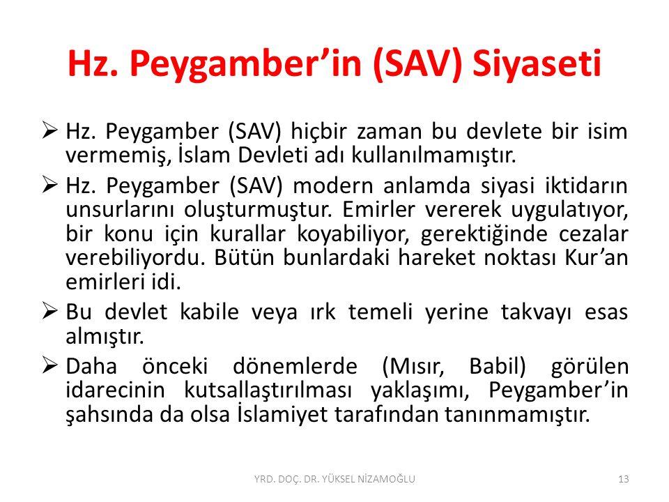 Hz. Peygamber'in (SAV) Siyaseti  Hz. Peygamber (SAV) hiçbir zaman bu devlete bir isim vermemiş, İslam Devleti adı kullanılmamıştır.  Hz. Peygamber (