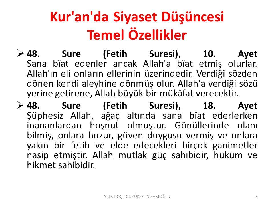 Kur'an'da Siyaset Düşüncesi Temel Özellikler  48. Sure (Fetih Suresi), 10. Ayet Sana bîat edenler ancak Allah'a bîat etmiş olurlar. Allah'ın eli onla