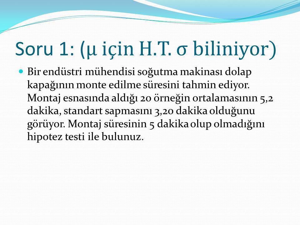 Soru 1: ( μ için H.T. σ biliniyor) Bir endüstri mühendisi soğutma makinası dolap kapağının monte edilme süresini tahmin ediyor. Montaj esnasında aldığ