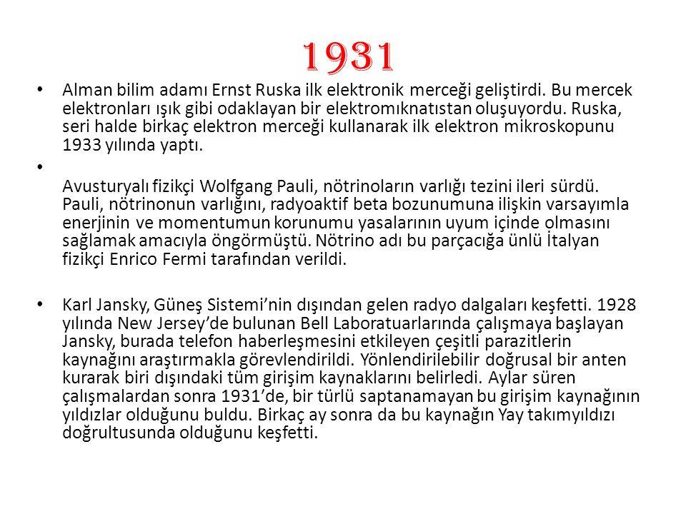 1931 Alman bilim adamı Ernst Ruska ilk elektronik merceği geliştirdi. Bu mercek elektronları ışık gibi odaklayan bir elektromıknatıstan oluşuyordu. Ru