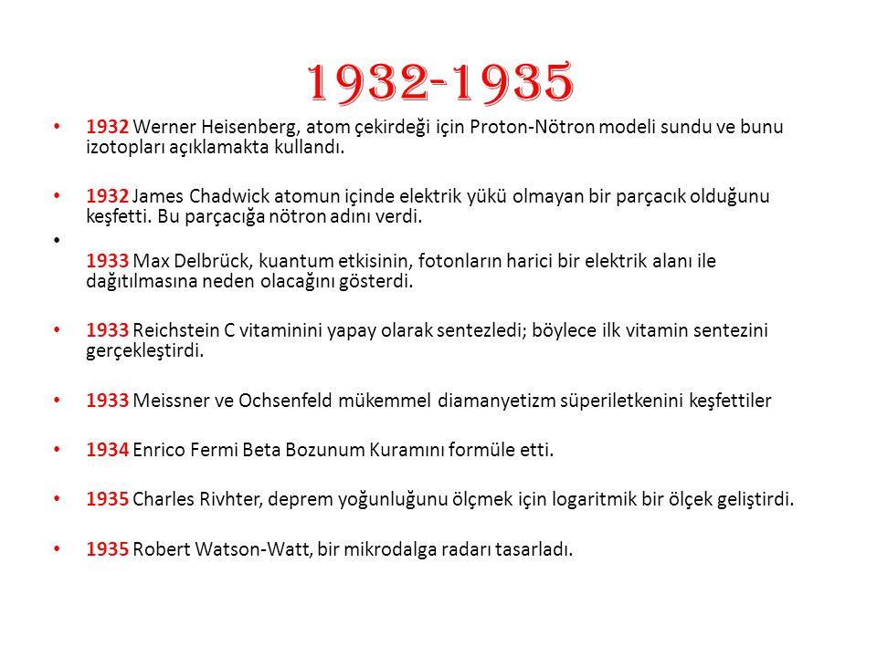 1932-1935 1932 Werner Heisenberg, atom çekirdeği için Proton-Nötron modeli sundu ve bunu izotopları açıklamakta kullandı. 1932 James Chadwick atomun i