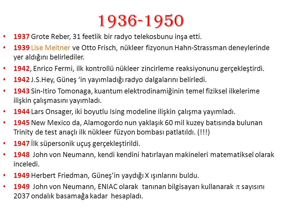 1936-1950 1937 Grote Reber, 31 feetlik bir radyo telekosbunu inşa etti. 1939 Lise Meitner ve Otto Frisch, nükleer fizyonun Hahn-Strassman deneylerinde