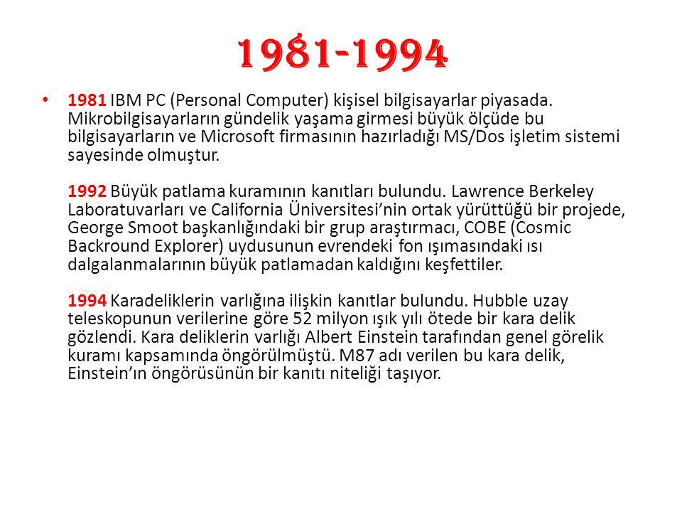 1981-1994 1981 IBM PC (Personal Computer) kişisel bilgisayarlar piyasada. Mikrobilgisayarların gündelik yaşama girmesi büyük ölçüde bu bilgisayarların