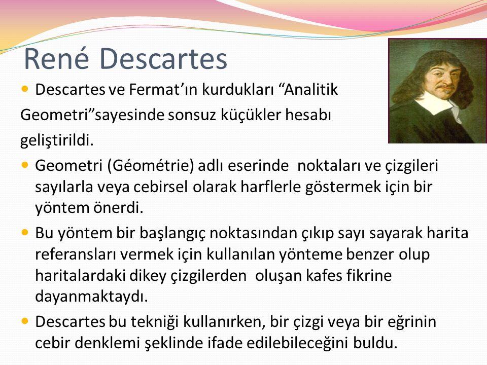 """René Descartes Descartes ve Fermat'ın kurdukları """"Analitik Geometri""""sayesinde sonsuz küçükler hesabı geliştirildi. Geometri (Géométrie) adlı eserinde"""