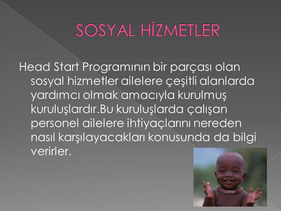 Head Start Programının bir parçası olan sosyal hizmetler ailelere çeşitli alanlarda yardımcı olmak amacıyla kurulmuş kuruluşlardır.Bu kuruluşlarda çal