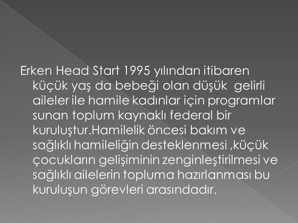 Erken Head Start 1995 yılından itibaren küçük yaş da bebeği olan düşük gelirli aileler ile hamile kadınlar için programlar sunan toplum kaynaklı feder