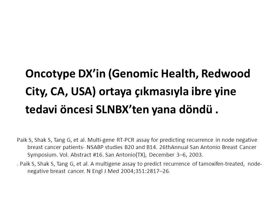Oncotype DX'in (Genomic Health, Redwood City, CA, USA) ortaya çıkmasıyla ibre yine tedavi öncesi SLNBX'ten yana döndü. Paik S, Shak S, Tang G, et al.