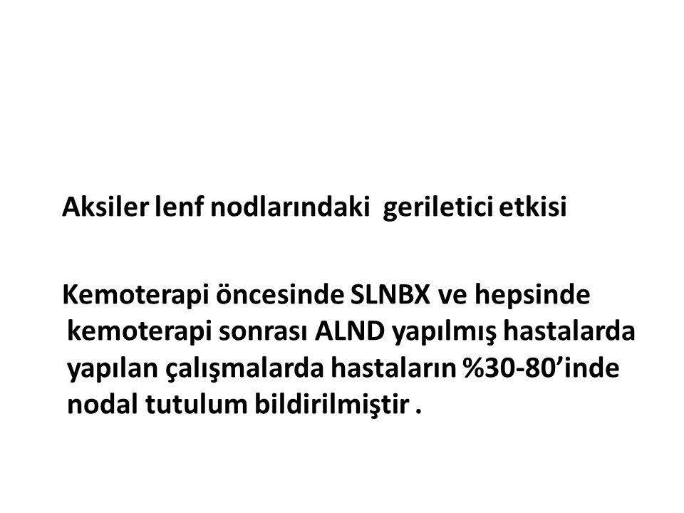 Aksiler lenf nodlarındaki geriletici etkisi Kemoterapi öncesinde SLNBX ve hepsinde kemoterapi sonrası ALND yapılmış hastalarda yapılan çalışmalarda ha