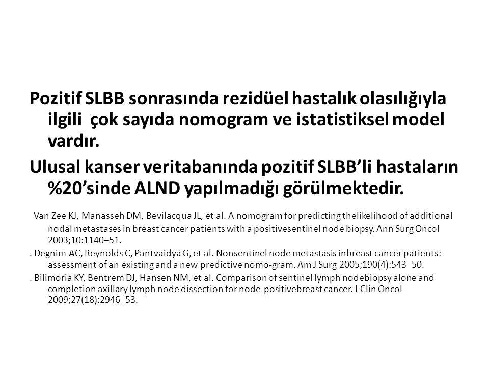 Pozitif SLBB sonrasında rezidüel hastalık olasılığıyla ilgili çok sayıda nomogram ve istatistiksel model vardır. Ulusal kanser veritabanında pozitif S
