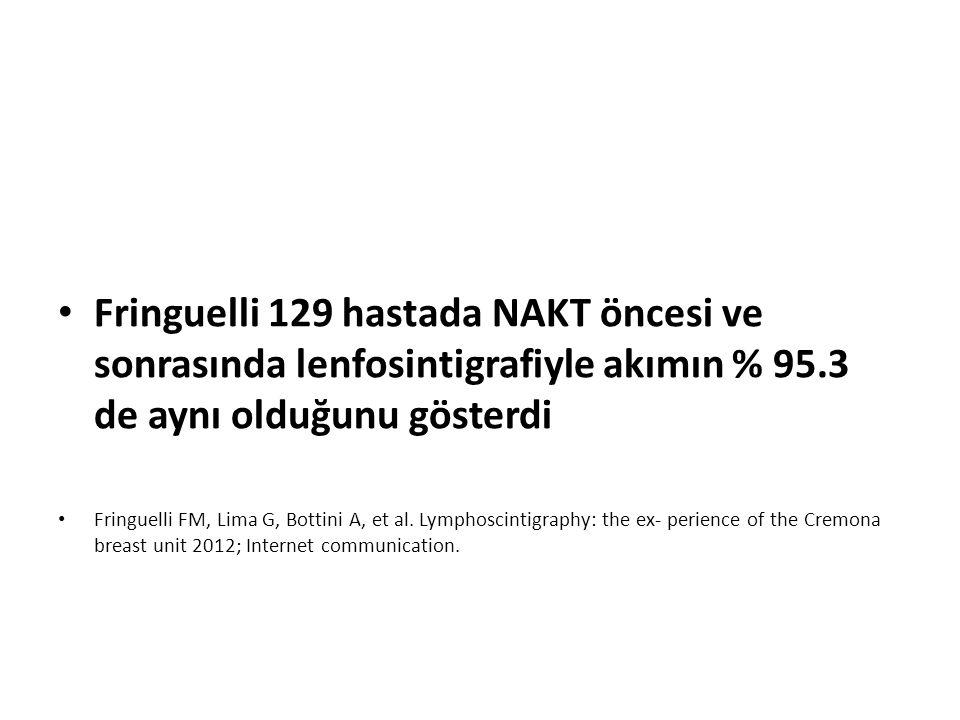 Fringuelli 129 hastada NAKT öncesi ve sonrasında lenfosintigrafiyle akımın % 95.3 de aynı olduğunu gösterdi Fringuelli FM, Lima G, Bottini A, et al. L