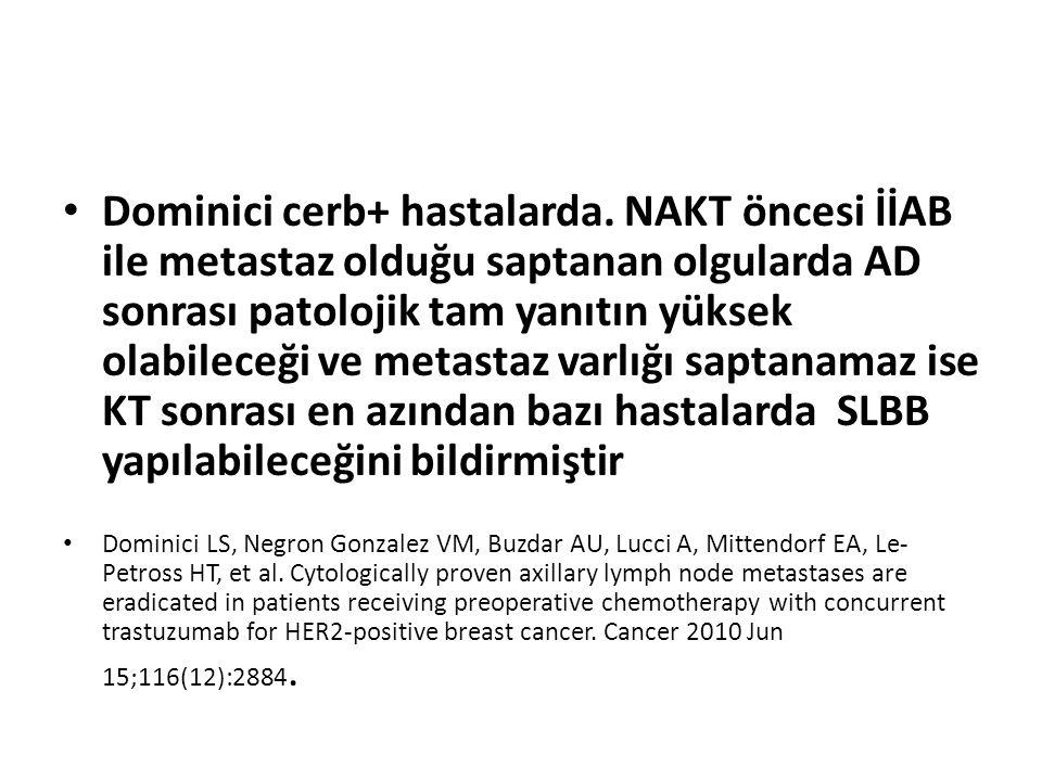 Dominici cerb+ hastalarda. NAKT öncesi İİAB ile metastaz olduğu saptanan olgularda AD sonrası patolojik tam yanıtın yüksek olabileceği ve metastaz var