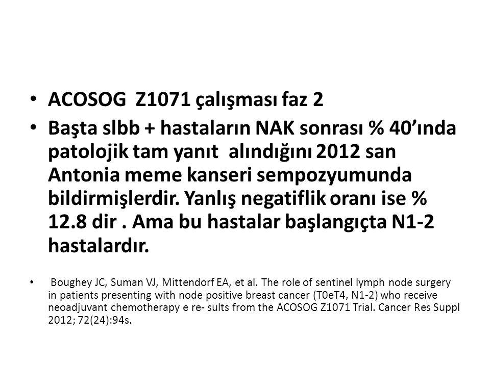 ACOSOG Z1071 çalışması faz 2 Başta slbb + hastaların NAK sonrası % 40'ında patolojik tam yanıt alındığını 2012 san Antonia meme kanseri sempozyumunda