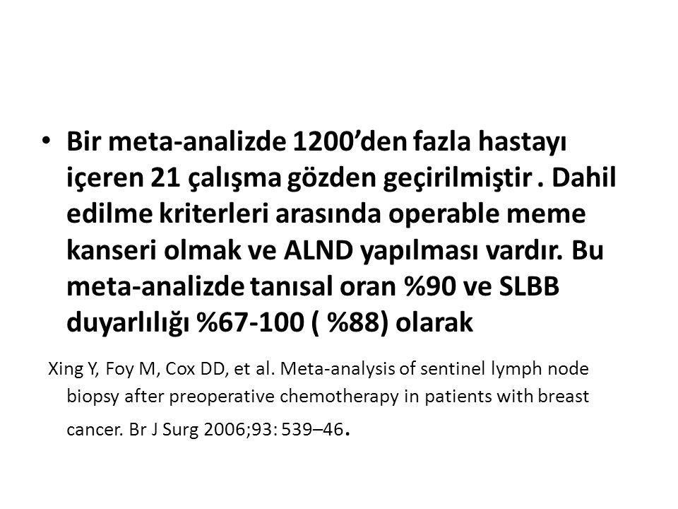 Bir meta-analizde 1200'den fazla hastayı içeren 21 çalışma gözden geçirilmiştir. Dahil edilme kriterleri arasında operable meme kanseri olmak ve ALND