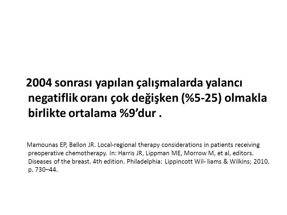 2004 sonrası yapılan çalışmalarda yalancı negatiflik oranı çok değişken (%5-25) olmakla birlikte ortalama %9'dur. Mamounas EP, Bellon JR. Local-region