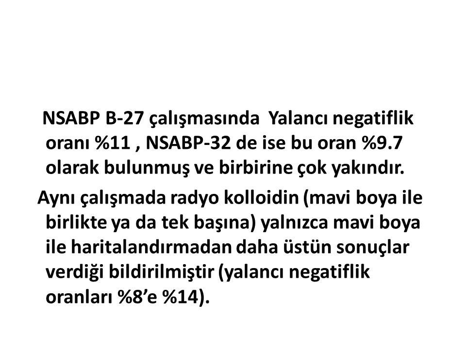 NSABP B-27 çalışmasında Yalancı negatiflik oranı %11, NSABP-32 de ise bu oran %9.7 olarak bulunmuş ve birbirine çok yakındır. Aynı çalışmada radyo kol