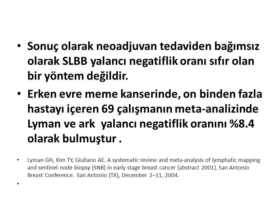 Sonuç olarak neoadjuvan tedaviden bağımsız olarak SLBB yalancı negatiflik oranı sıfır olan bir yöntem değildir. Erken evre meme kanserinde, on binden