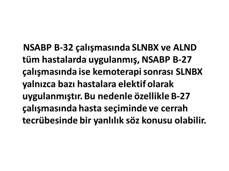 NSABP B-32 çalışmasında SLNBX ve ALND tüm hastalarda uygulanmış, NSABP B-27 çalışmasında ise kemoterapi sonrası SLNBX yalnızca bazı hastalara elektif